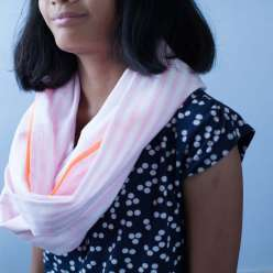 Learn how to do this crafts for kids project and sew an infinity scarf with Little Pincushion Studio owner, Annabel Wrigley. This all-season scarf is an easy sewing project for kids to learn how to use a sewing machine in this sewing lesson for kids.