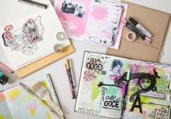 Dawn DeVries Sokol teaches you how to make an art journal: one from upcycled cereal boxes and a sewn spine; the other with a hard cover book.  This is a great project for drawing, sketching or art journaling.