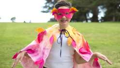 Learn to make a quick and easy homemade diy halloween costume idea with Courtney Cerruti. This is bird costume is no-sew costume so its perfect for any occasion or costume party.