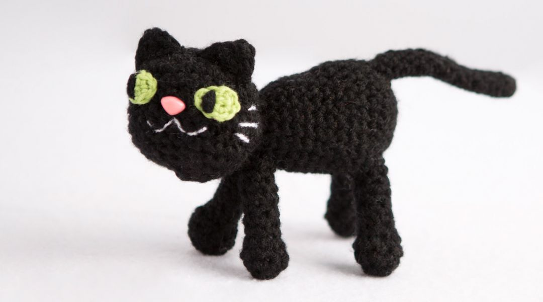 Crocheted Black Cat