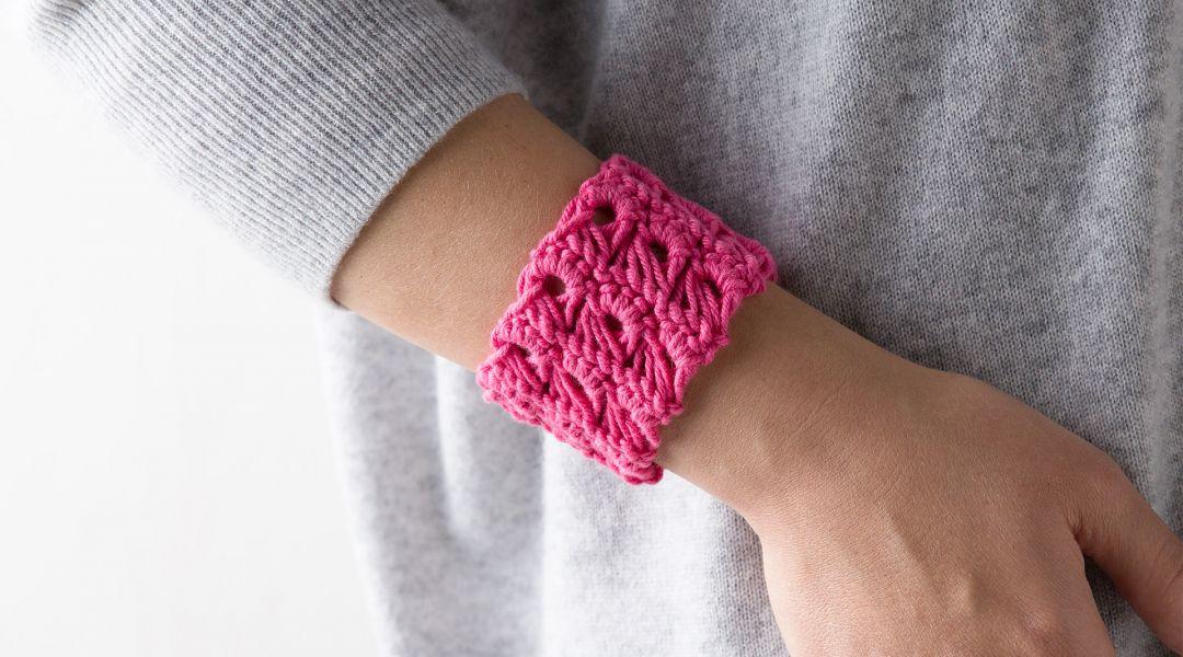 Crocheted Broomstick Lace Bracelet