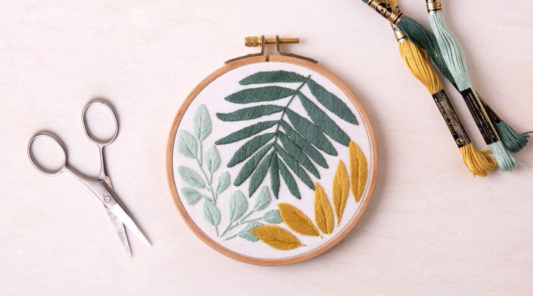 Botanical Leaf Embroidery