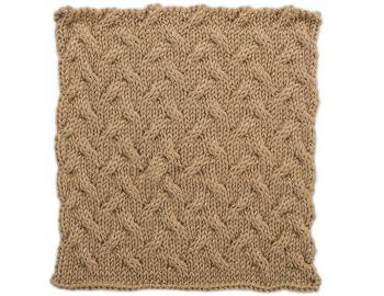 Cabled Afghan: BLOCK E - Stockinette Cables Square