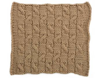 Cabled Afghan: BLOCK D - Checkerboard Cables Square