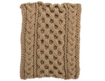 Cabled Afghan: BLOCK I - Honeycomb and Braided Cables Square