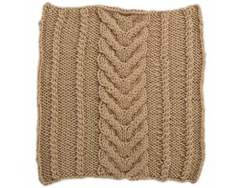 Cabled Afghan: BLOCK F - Horseshoe Panel with Twists Square